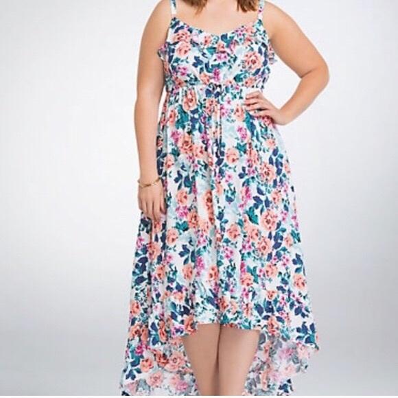 torrid Dresses & Skirts - Torrid Floral High Low Ruffle Sleeveless Dress